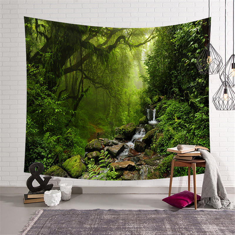 Forest Printed Large Tapestry Wall Hanging Hippie Carpet Mandala Bedspread Beach Towel Yoga Mat Tablecloth Blanket Home Decor in Tapestry from Home Garden