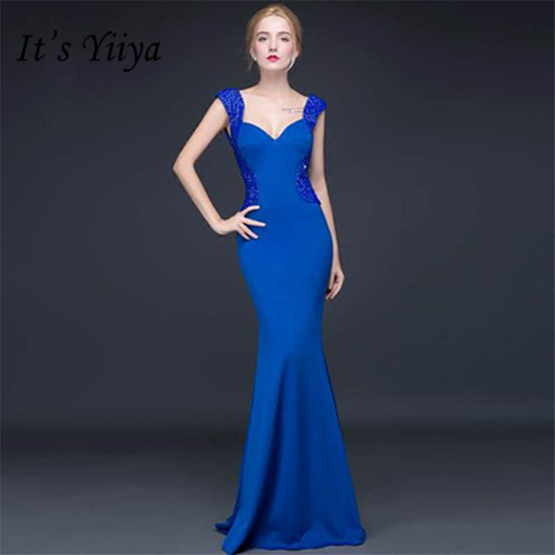 It's Yiiya Luxury Dark Blue V-Neck Sleeveless Backless Bling Crystal Evening Dresses Floor Length Trumpet Formal Dress LX653