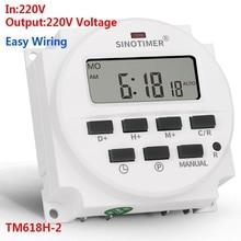 SINOTIMER TM618H-2 220 В переменный ток цифровой переключатель времени выходное напряжение 220 в 7 дней Еженедельный Программируемый таймер переключатель для освещения