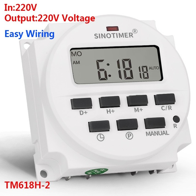 SINOTIMER TM618H-2 220V AC Digital Time Switch Output Voltage 220V 7 Day Weekly Programmable Timer Switch for Lights Application