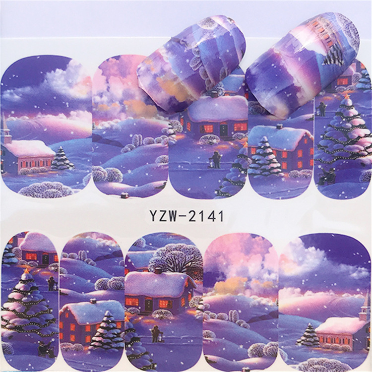 1 Pcs Christmas Series Watermark, Nail Sticker, Elk Snowman Hot Selling Style
