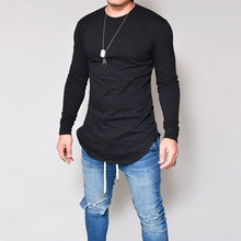 Men Casual T Shirt Cotton Long Sleeve O-Neck Silm Fit T-shirt Mens Fashion Solid Color bottoming shirt long slim crew neck