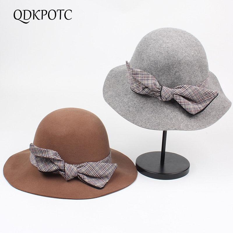 QDKPOTC 2018 New Fashion Fedoras Womens Jazz Hat Dome Butterfly 100% Wool Cap elegant Casual