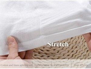 Image 5 - Camiseta para hombre de manga corta de lino con costura bordada de dibujos animados, camiseta informal de la marca con cuello redondo de algodón blanco elástico para hombre