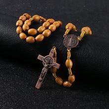 KOMi Handmade Weave Saint Benedict Medal Antique Wooden Rosary Cross Necklace Vintage Catholic Religious Jesus Jewelry R-156