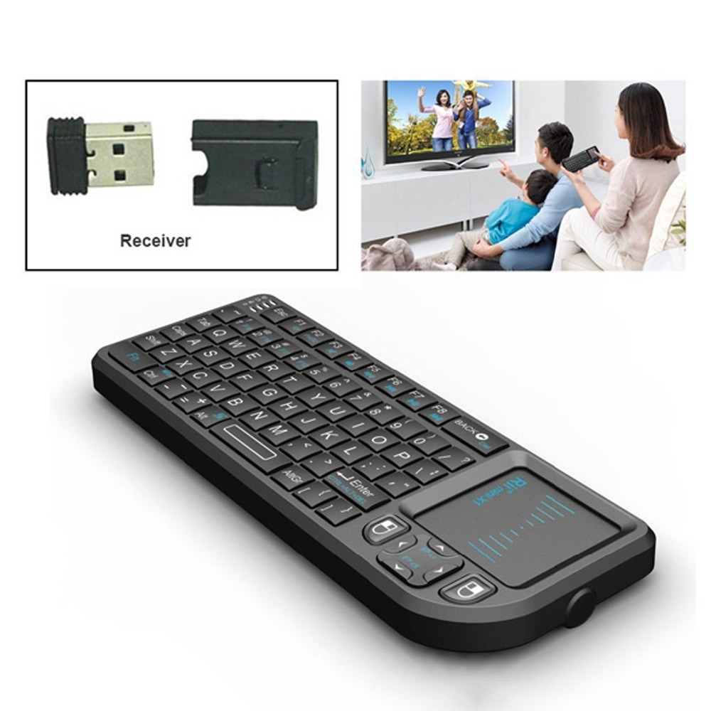 Original 50pcs Rii Mini X1 Wireless Keyboard 2.4G Air Mouse Handheld Touchpad gaming keyboard for phone Android tv box x96 mini