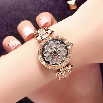 Rose Gold Rotating Watches Woman Quartz Watch Full Diamond Ladies Fashion Watch Top Brand Luxury Steel Bracelet Waterproof Clock diamond stylish watches for girls