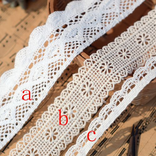 Hot sale Clothing accessories Import white beige cotton lace in Lace from Home Garden