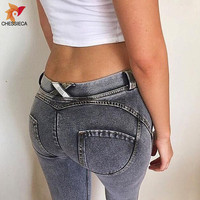 CHESSIECA New 2018 Brand New Jeans Women's Fashion Push Up Pants Sexy Elastic Denim Leggings Trousers Hip Fitness Pencil Pant