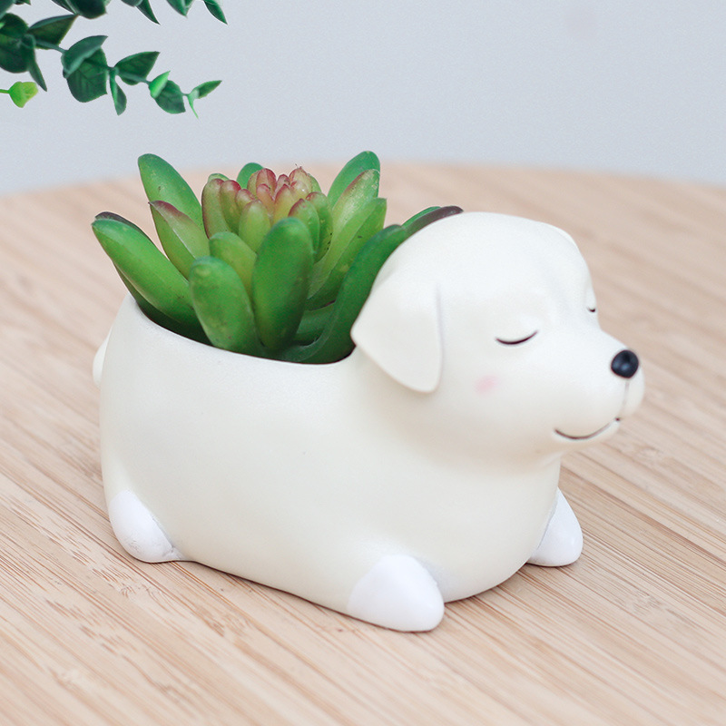 2017 new puppy world resin planter for succulent cute for Deco jardin miniature