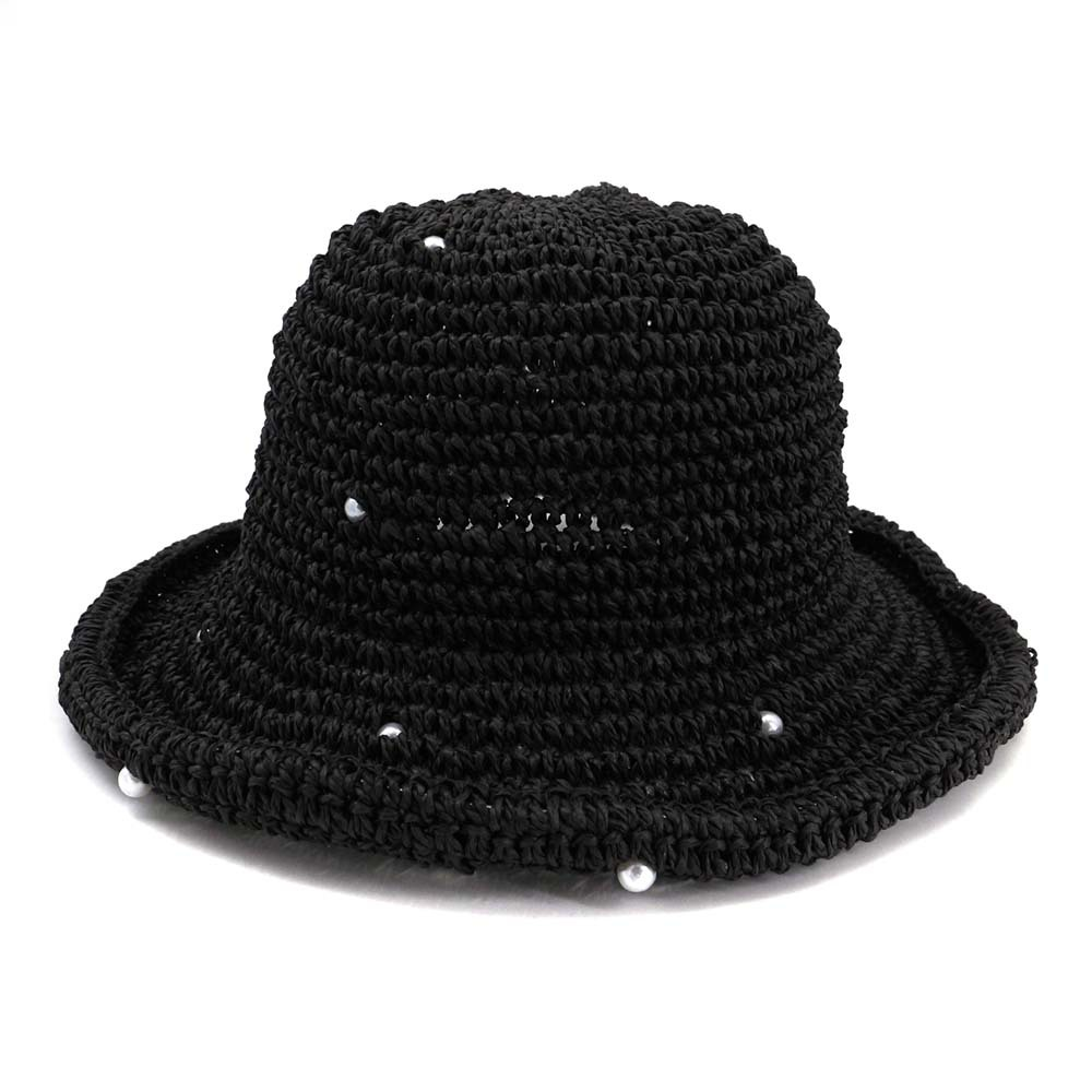 9c6fb3a3d93ad 2019 Summer Handmade Crochet Pearl Straw Hat Female Foldable Dome ...