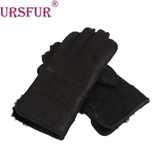 Ursfur herren winter hand nähen schaffell handschuhe mit wolle fell ...