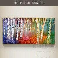 Pintados à mão-de Alta Qualidade Pintura A Óleo sobre Tela Paisagem Abstrata Árvores Coloridas Árvores Florescendo Pintura A Óleo para Sala de estar