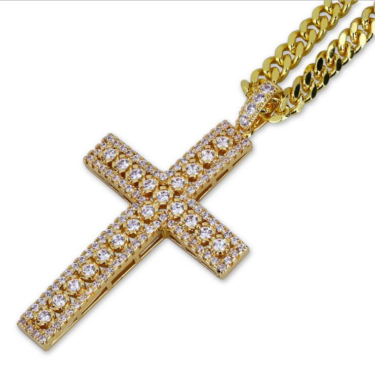 micro pave cz hip hop bing mens boy jewelry simple classic design hiphop Rock CZ zirconia cross pendant necklace gold color
