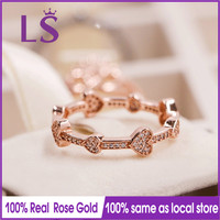 LS 2018 New Arrivals High Quality Real Rose Gold Alluring HeartsRing For Women DIY Fashion Rings 100% Fine Jewelry Gifts