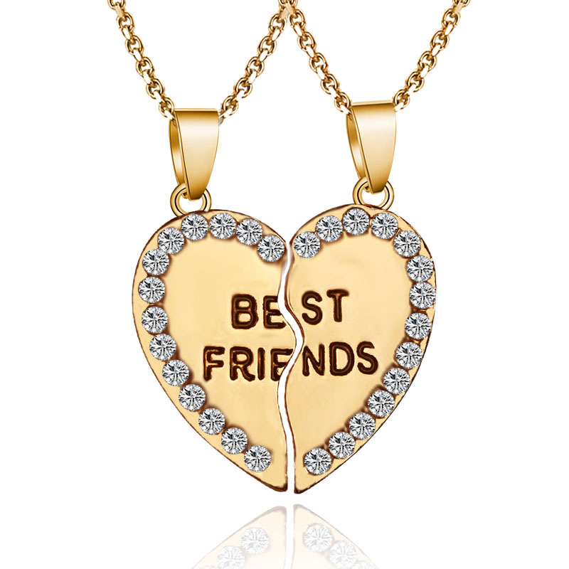 2 pieces / set Half love rhinestone pendant best friend necklace friendship gift for couple good frien dalloy pendant necklace 2