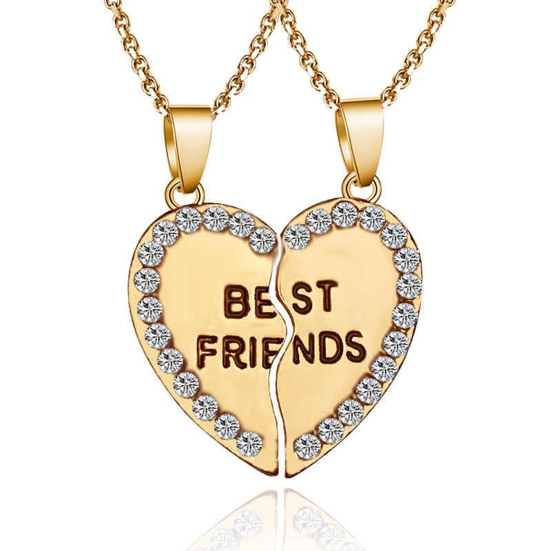 2 pieces / set Half love rhinestone pendant best friend necklace friendship gift for couple good frien dalloy pendant necklace