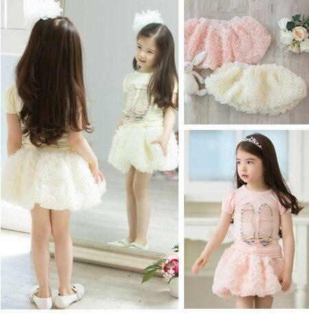 New 2015 summer  baby girls children's skirts  Beautiful Rose tutu skirt for girls petti skirt 2 Color  Free Shipping