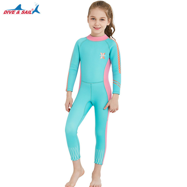 Kids One-piece Long Sleeves Diving Suit 2.5MM Neoprene Warm Wetsuit Girls UV protection Swimwear Rash Guards Snorkeling Surfing