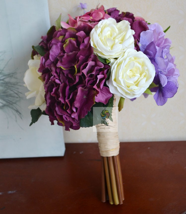 <font><b>Elegant</b></font> Brand New DIA 20CM Hydrangea Silk Rose Bridal Bridesmaid Wedding Bouquet Artificial Flower <font><b>Home</b></font> <font><b>Decoration</b></font>
