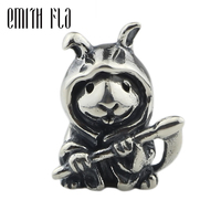 Genuine 925 Sterling Silver Bunny Reaper Charm Beads Fit Original Brand Bracelet Jewelry Vintage Beads for Jewelry Making