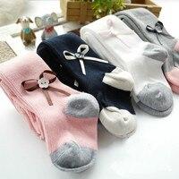 Bebek Prenses Bale Yay ile Beyaz Pembe Gri Yenidoğan Pamuk Tayt Stocking Kızlar Toddler Külotlu Çorap Meias Infantil 0-3Y CC291