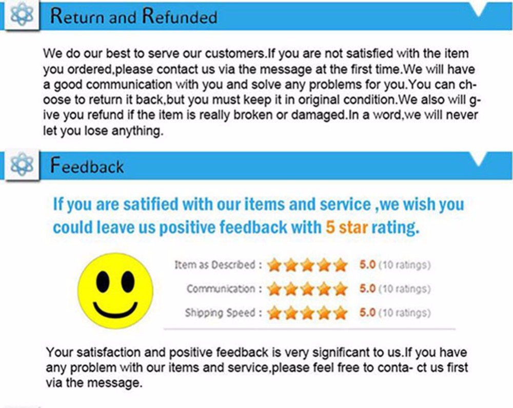 7 Return and Refunded Feedback