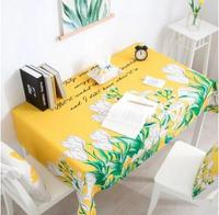 Tulip flower printed yellow/green background tablecloth decorative cotton linen table cloth coffee table cover dust proof