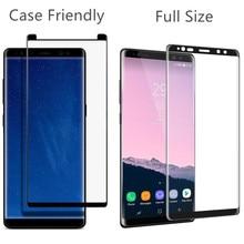 50 pcs/lot DHL Ship Écran Protecteur Pour Samsung Galaxy Note 8 En Verre Trempé Couverture en Taille Réelle 3D Bord Incurvé De Protection Film