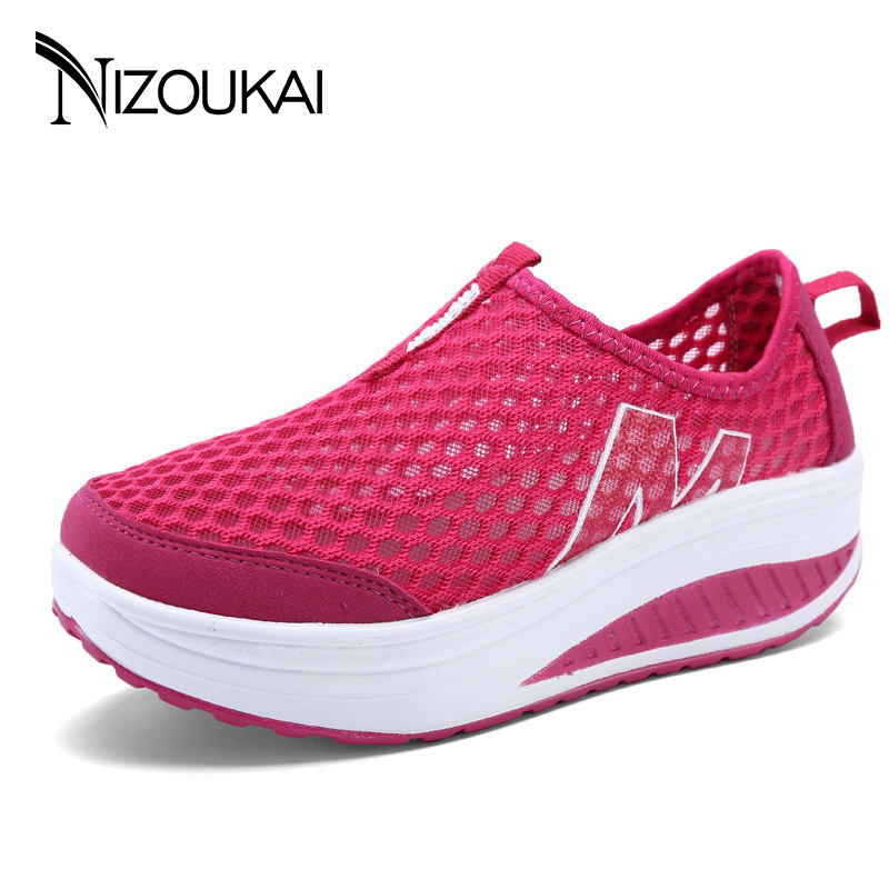 2017 Summer women shoes platform shoes women breathable Mesh shoes fashion Evelator ladies shoes Zapatos Mujer free shipping candy color women garden shoes breathable women beach shoes hsa21