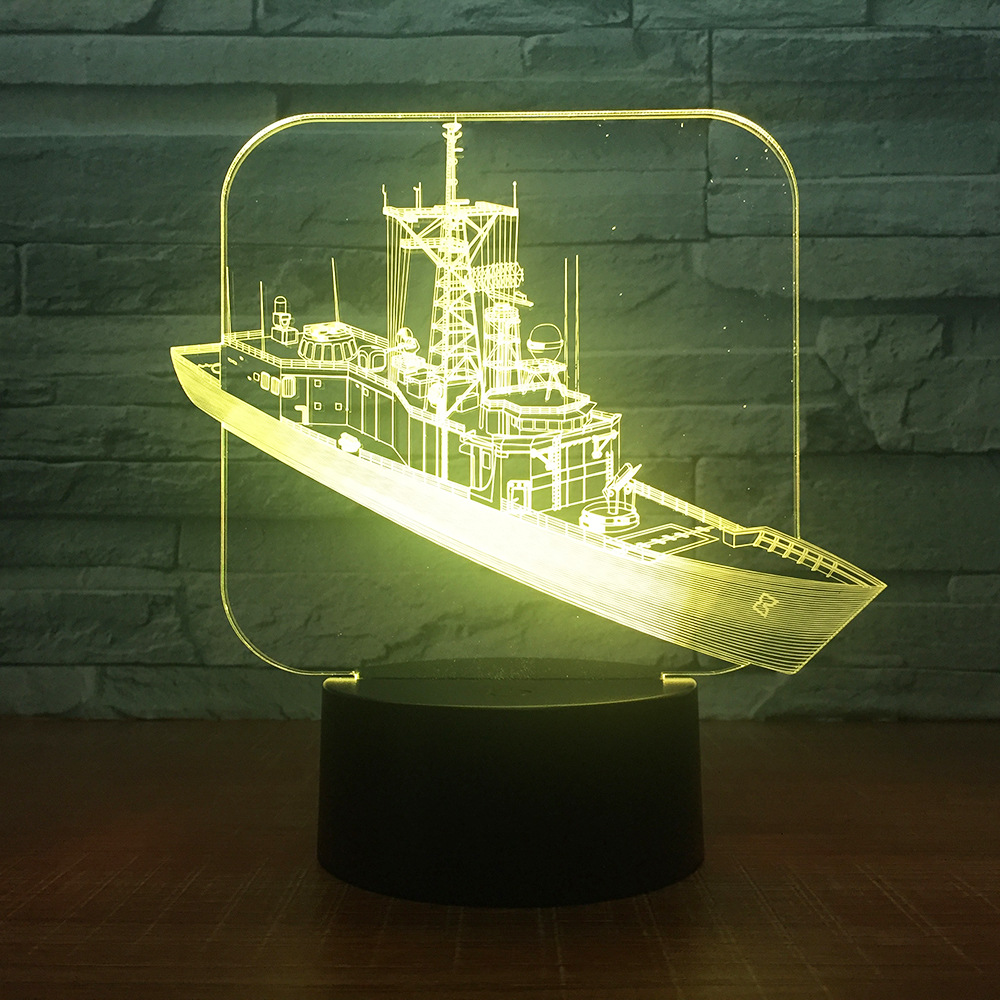 Destroy Ship 3D LED Desk Lamp Night Light Acrylic Bulbing Optical Illusion Table Lumineuse Baby Nightlight Veilleuse DropShiping цена