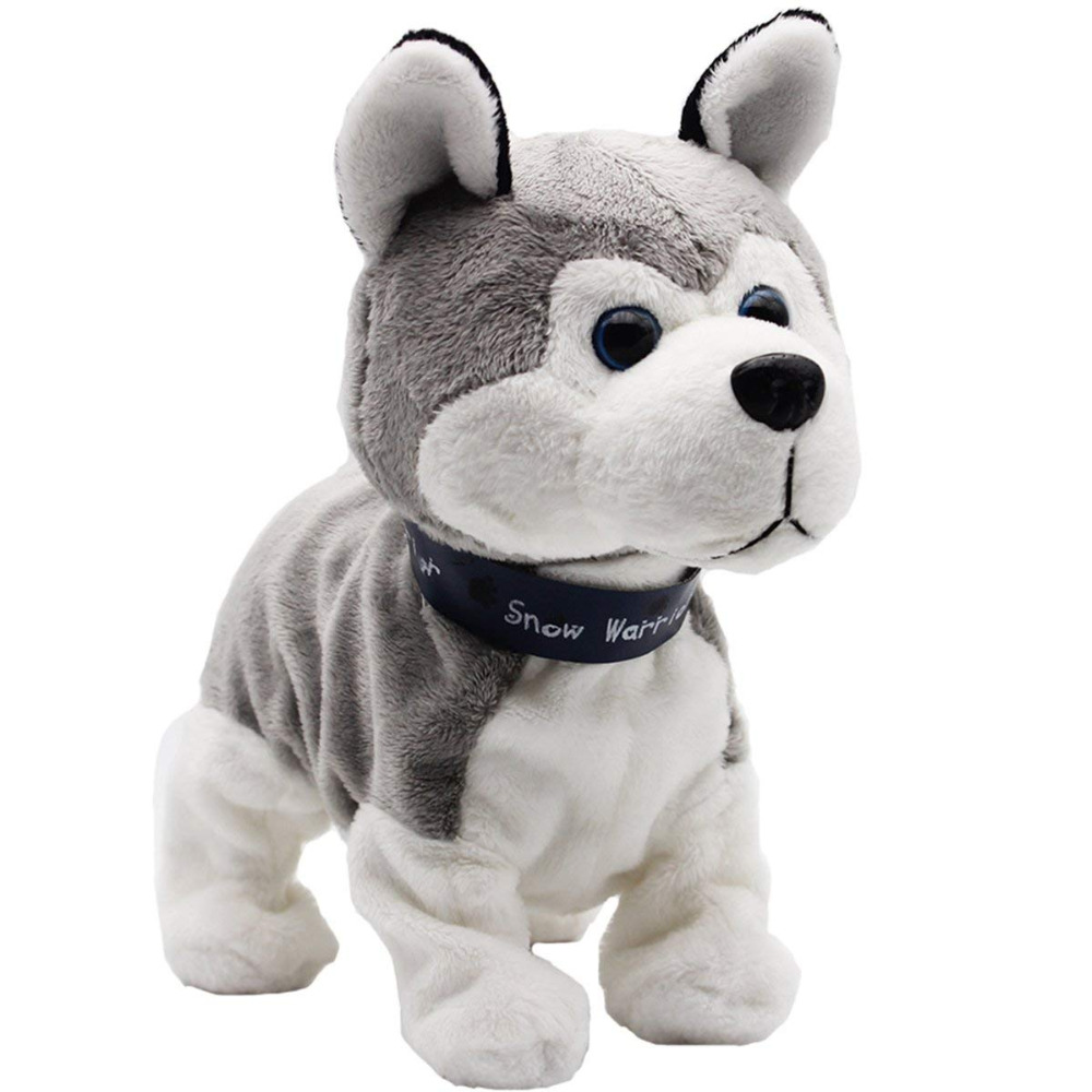 Interactive Robot Dog Bark SitDown Electronic Walking Pet Dog Husky Sound Control Dog Plush Stuffed Toy Child Kids Gifts Toddler hot sale short plush chew squeaky pet dog toy