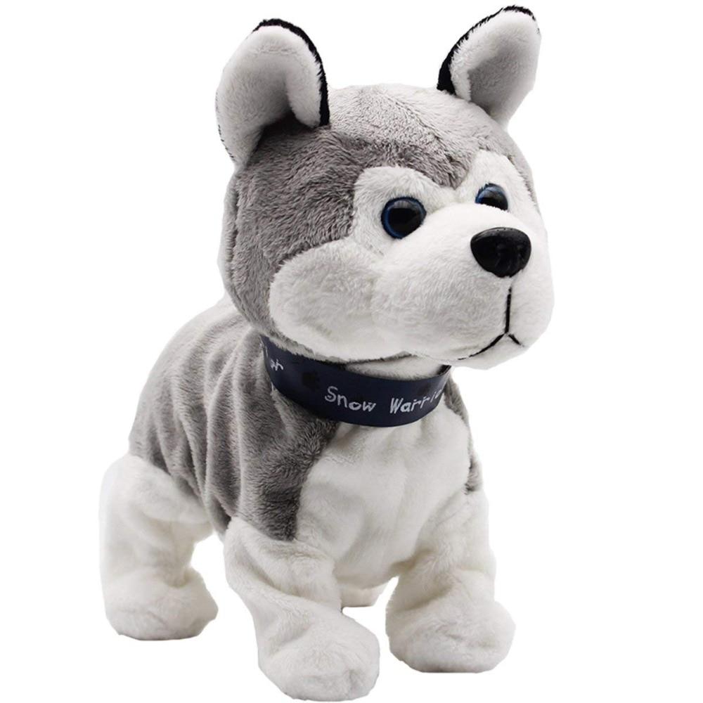 Interactive Robot Dog Bark SitDown Electronic Walking Pet Dog Husky Sound Control Dog Plush Stuffed Toy Child Kids Gifts Toddler