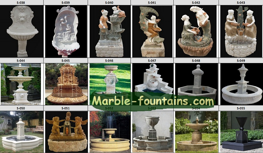 Outdoor wall water fountains stone carving with pool surround garden ...