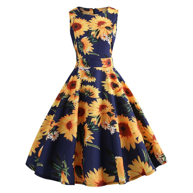 03d10d519e0 Retro Sunflower Printing Party Dress Women Sleeveless O Neck Dress Back  Zippwer Draped Belt Bow Tie Sundress Yellow Dresses 24