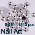 SS10 (2.7-2.9mm) Flatback Redondo de Cristal Del Arte Del Clavo Con Para DIY Uñas de Arte Y de La Boda decoración 1440 unids