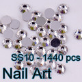 SS10(2.7-2.9mm) Round Flatback Crystal Nail Art Rhinestones With For DIY Nails Art And Wedding Decoration 1440pcs