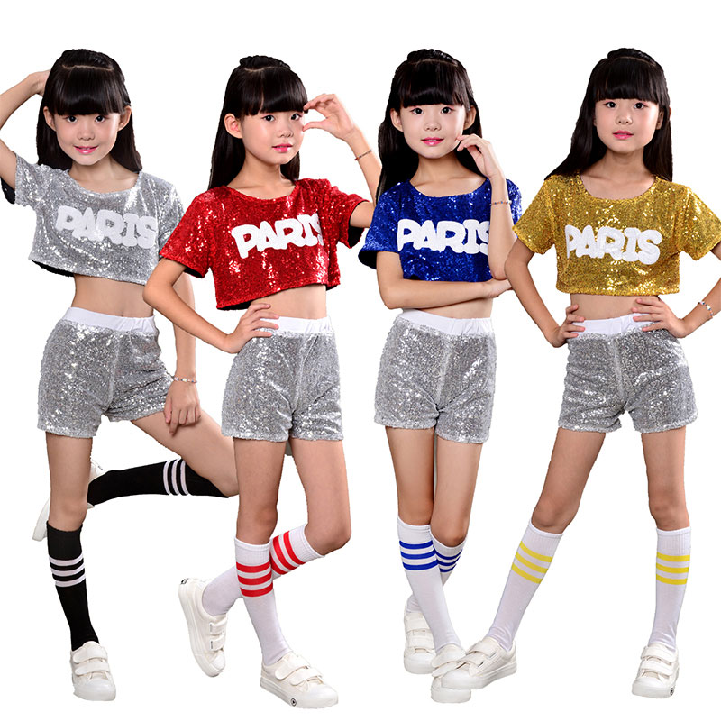 Girl Jazz Dance For Girls Jazz Dance Costumes For Boy Hip Hop Dancing Girl Sequins Stage Performance Paris Hip Hop Costumes