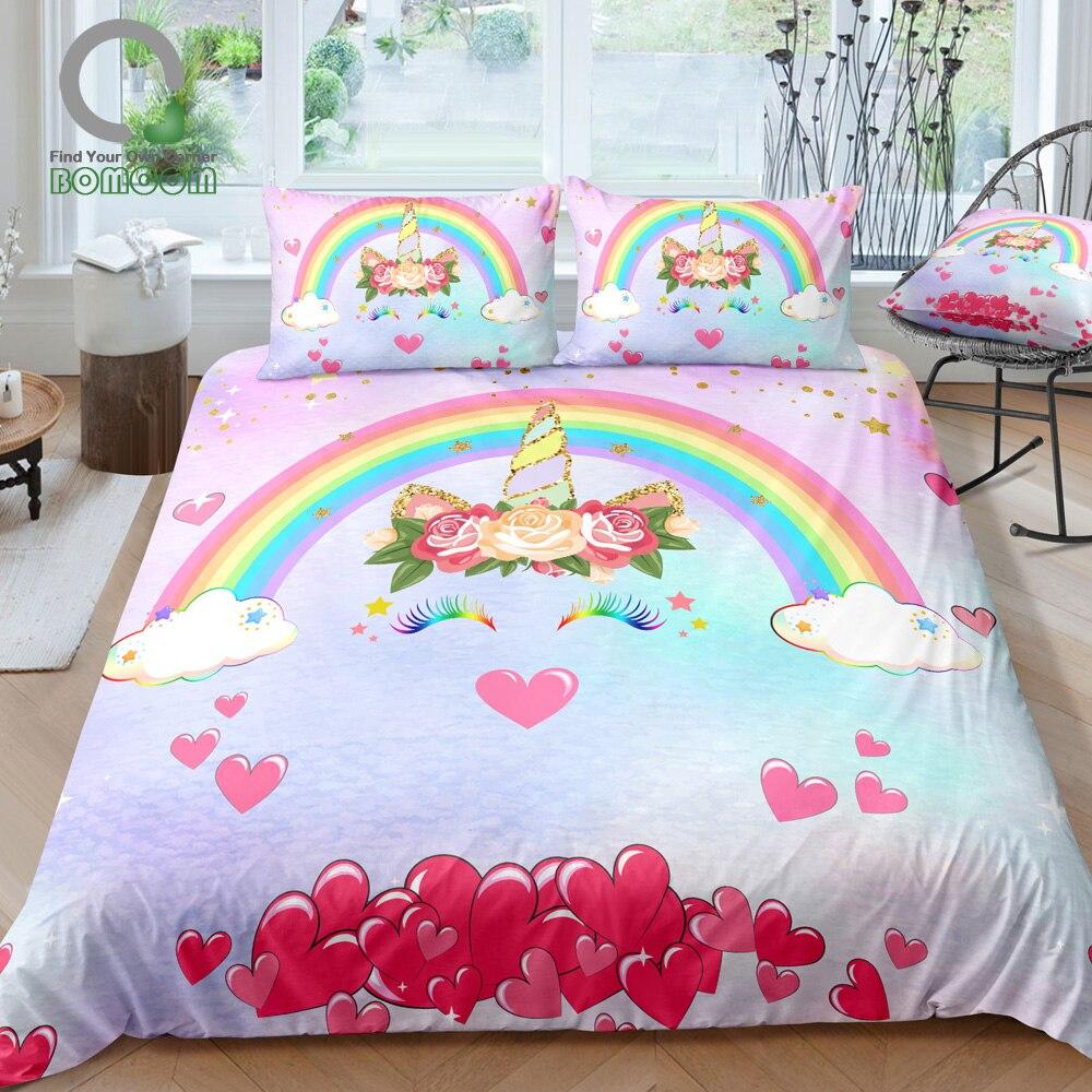 BOMCOM 3D Digital Printing Pink Unicorn Head Smiling Unicorn Face Glitter Star Pink Heart Nose Bedding