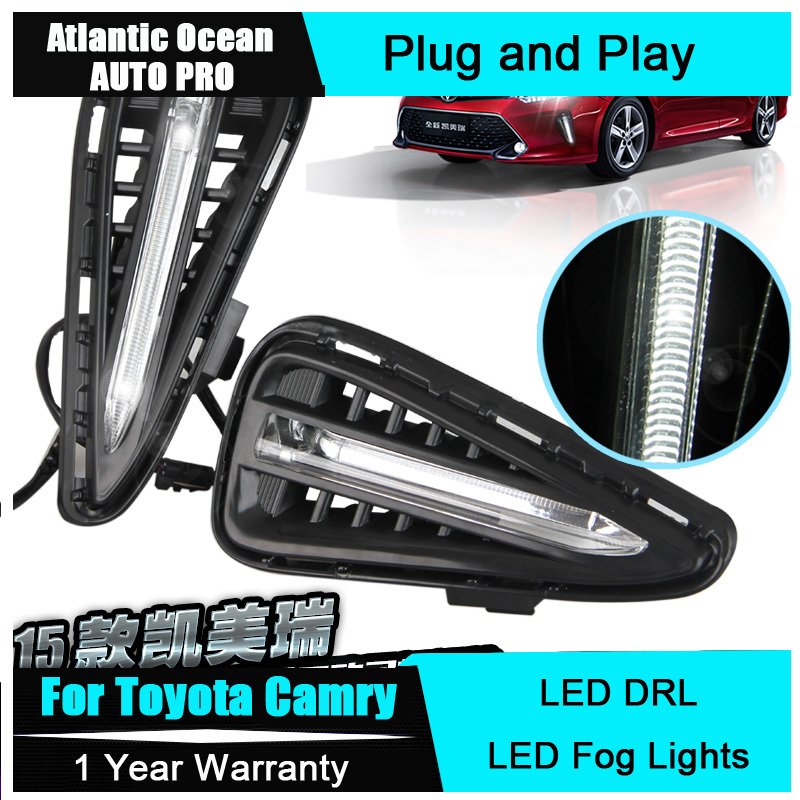 AUTO PRO Car Styling For Toyota Camry LED DRL 2015 New Camry LED Daytime Running Light LED fog lights LED Parking lights