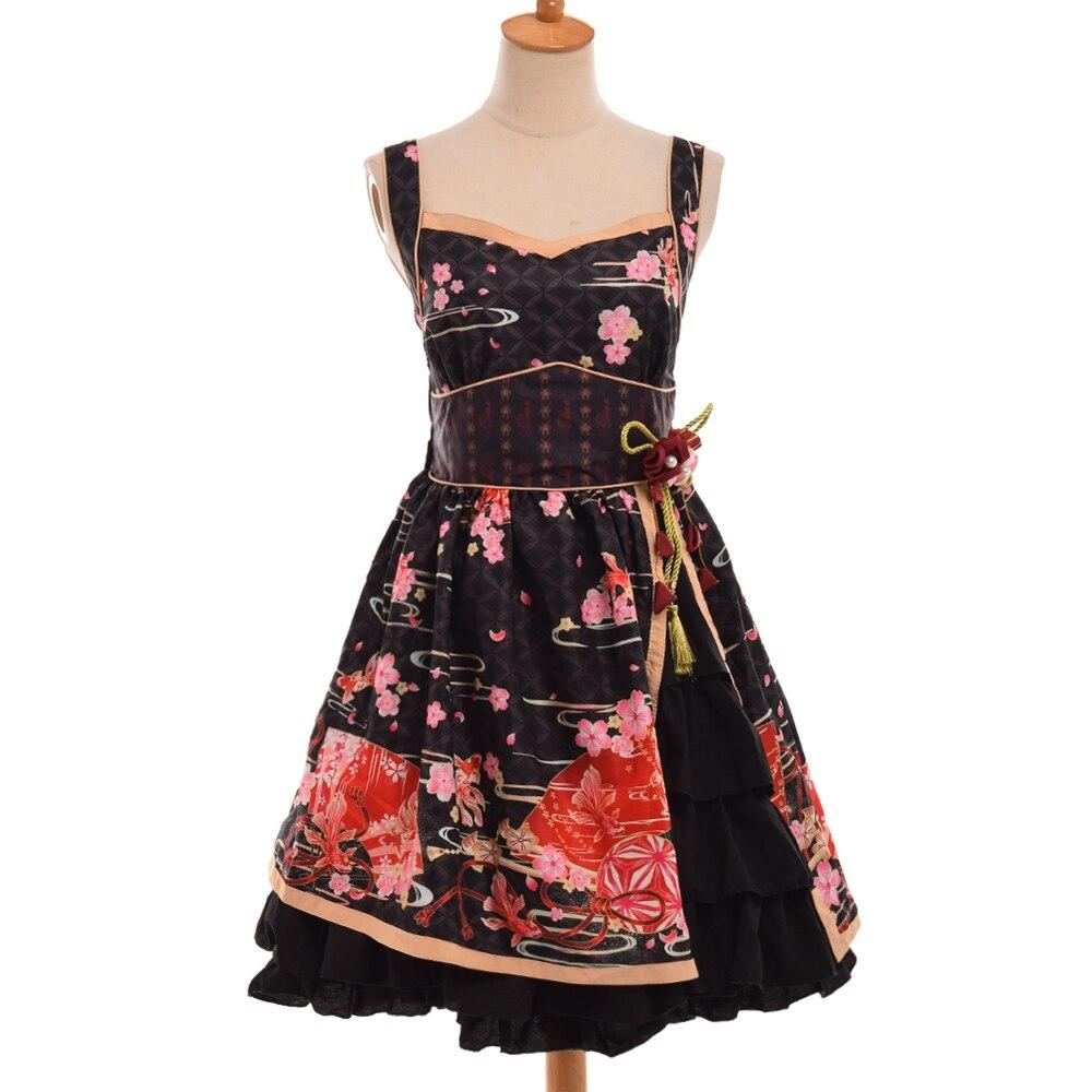 Lolita robe à bretelles imprimé fleurs Sakura japonais noir/blanc/rouge à volants JSK robes