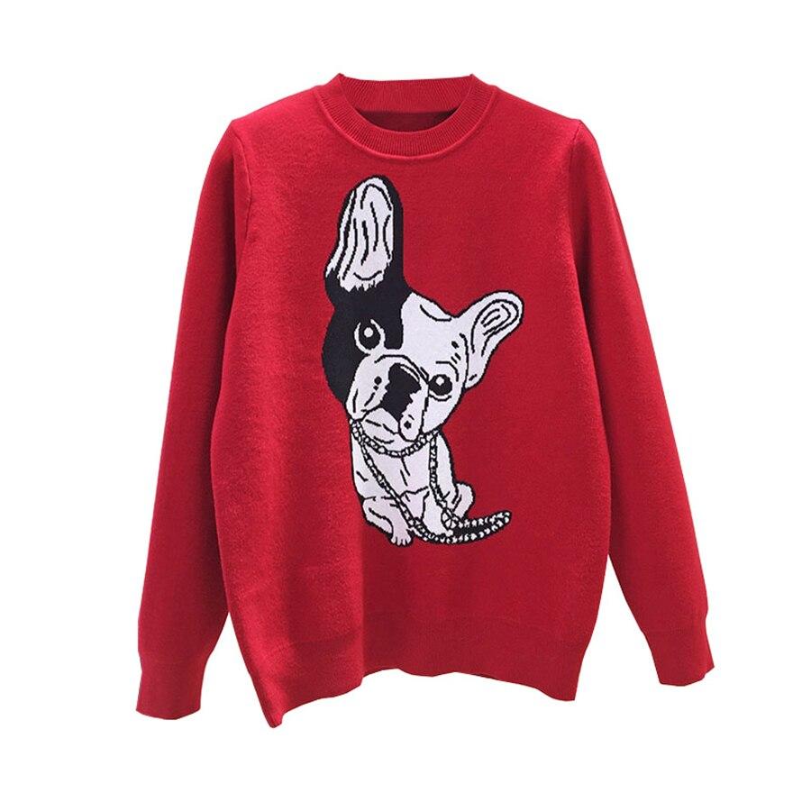 Dog Print Loose Sweater Women Long Sleeve Pllover Korean Fashion Womens Sweaters Cute Casual Pullovers Kawaii Knitwear 50C0022 ...