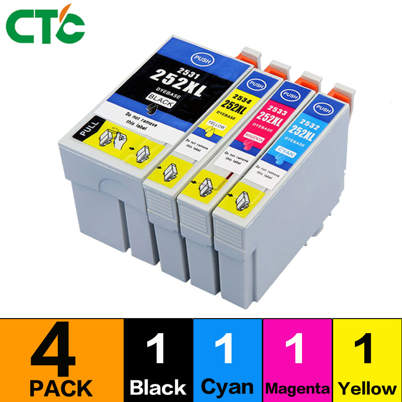 4pcs 252XL 252 XL ink Cartridge compatible for WF3620 WF3640 WF7610 WF7620 Printer full ink with chip