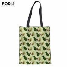 FORUDESIGNS/забавные фрукты авокадо принт большие холщовые сумки многоразового использования для покупок эко складная дорожная Персонализированная тканевая сумка маркетинг