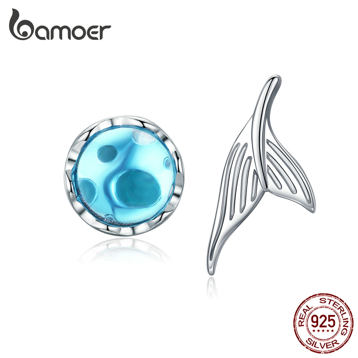 BAMOER Mermaid Stud Earrings For Women 925 Sterling Silver Sea Blue Fish Tail Crystal Earring 2019 Girl Gifts Brincos SCE630
