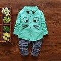 2016 Симпатичные Большие Глаза Рубашка С Прохладной Брючные Костюмы Для Милый Ребенок Мальчики Мода Полный Однобортный Набор