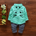 2016 Grandes Ojos Lindos Camisa Con Fresco Pantalones Trajes Para Bebés Lindos Moda Completo de Un Solo Pecho Juego