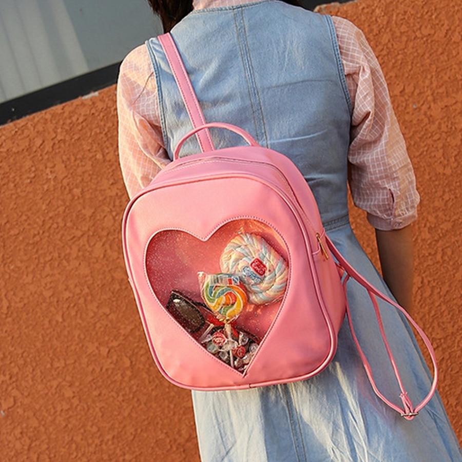 Marke Designer Rucksäcke Frauen Candy Transparent Liebe Herz Schultasche Kinder Harajuku Lässig Buch Tasche Teenager Mädchen Ita Tasche