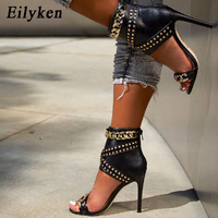 Eilyken 2019 New Rivet Metal Decoration High Heel Women Sandals Cover Heel For Party Gladiator Ladies Shoes Black Size 35 40