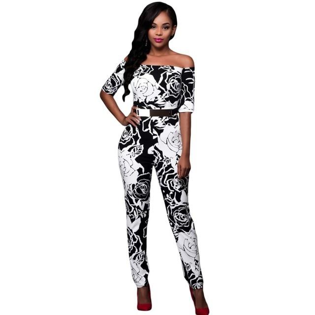 2016 Monochrome fabric rose floral print jumpsuit autumn wear vintage elegant belted slash neck women sexy club jumpsuits A64179
